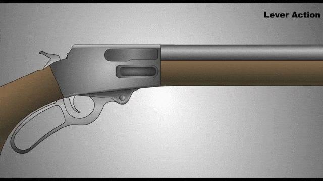 Este GIF muestra el mecanismo dentro de un rifle con acción de palanca. El arma posee dos cámaras diferentes, la primera contiene las balas en la parte inferior, mientras que la segunda, donde se encuentra la aguja percutora, es el lugar donde van las balas una a una, antes de ser disparadas. #arma #tiro #fusil #percutor #fuego #balas #cámara #funcionamiento http://www.pandabuzz.com/es/scienceporn-del-dia/funcionamiento-rifle