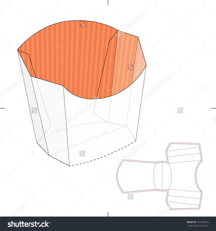French Fries Disposable Paper Box With Die Cut Layout Stock Vector Illustration 191403929 : Shutterstock