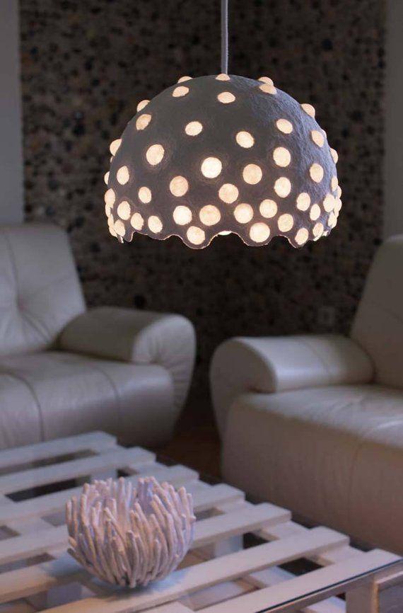 Paper Mache Pendant Light Recycled Paper Lampshade Paper Pulp Light Translucent Paper Light Hanging Lamp 30 Cm 12 Inches Diameter Diy Pendant Light Paper Light Paper Lampshade