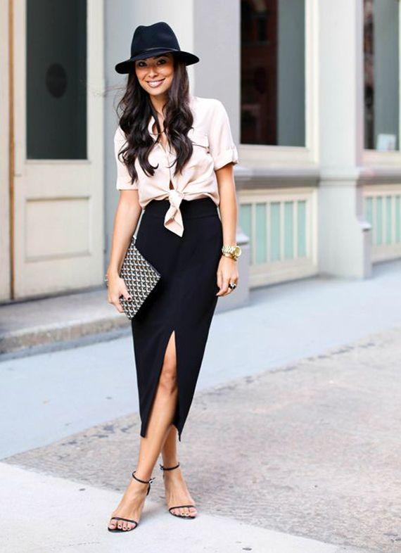 imprescindibles fondo de armario, falda con abertura, camisa anudada