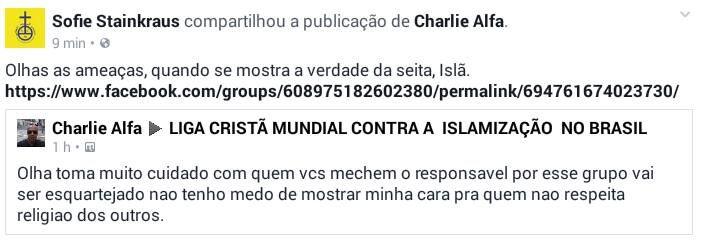 Muçulmano ameaça esquartejar administradores do grupo de debates contra a islamização no Brasil. Denunciem, compartilhem, indivíduo altament...
