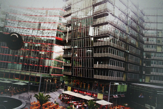 view of Potsdamer Platz   through windows at Berlin Museum of Film and Television