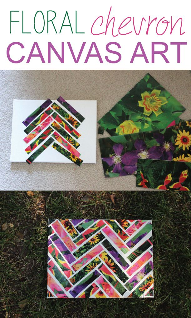 Floral Chevron Canvas Art  #DIY