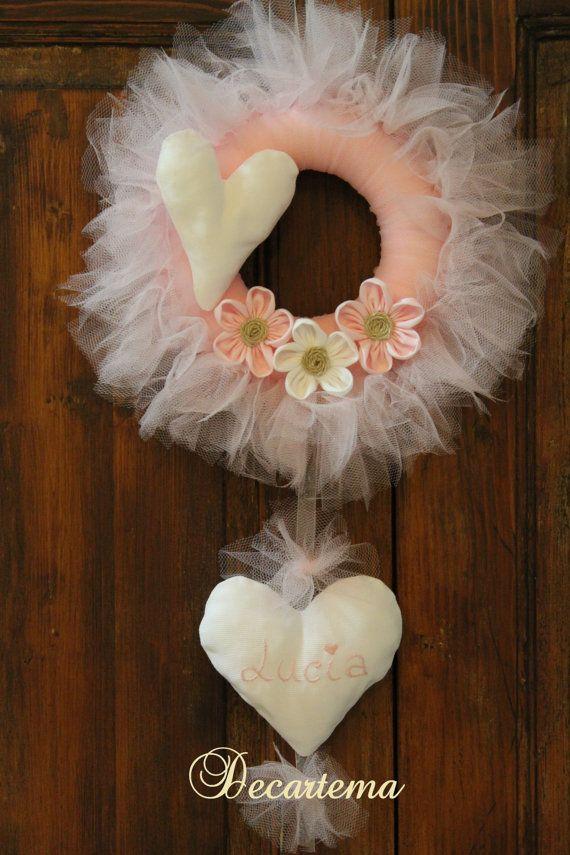 Fiocco nascita rosa ghirlanda in tulle shabby chic di Decartema