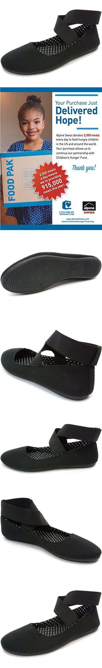Alpine Swiss Peony Womens Ballet Flats Elastic Ankle Strap Shoes Black 9 M US