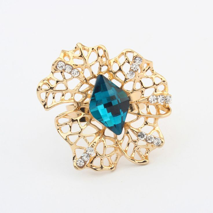 Zinc Alloy Finger Ring, with Crystal, real gold plated