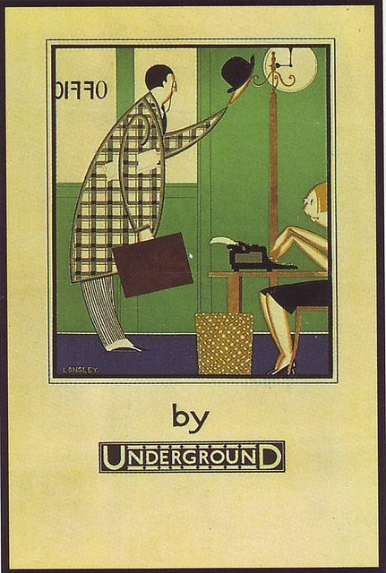 "London Underground poster ""Office by Underground"", by Stanislaus S Longley, 1933."