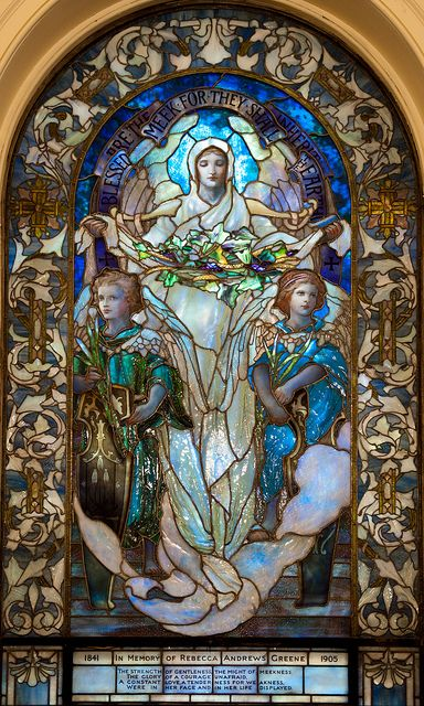 """Blessed are the meek, for they shall inherit the earth."" Tiffany Glass Window, Upper level, Arlington Street Church, Boston."