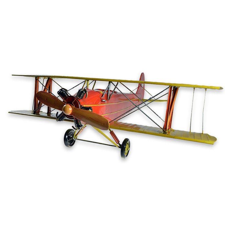 Blikken vliegtuig model van een dubbeldekker jachtvliegtuig