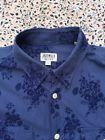 JACK WILLS - Dark Blue - Navy Floral Pattern - Buton Cuff - Shirt - Size L