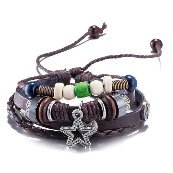 Unisex Leather Rope Star Bracelet