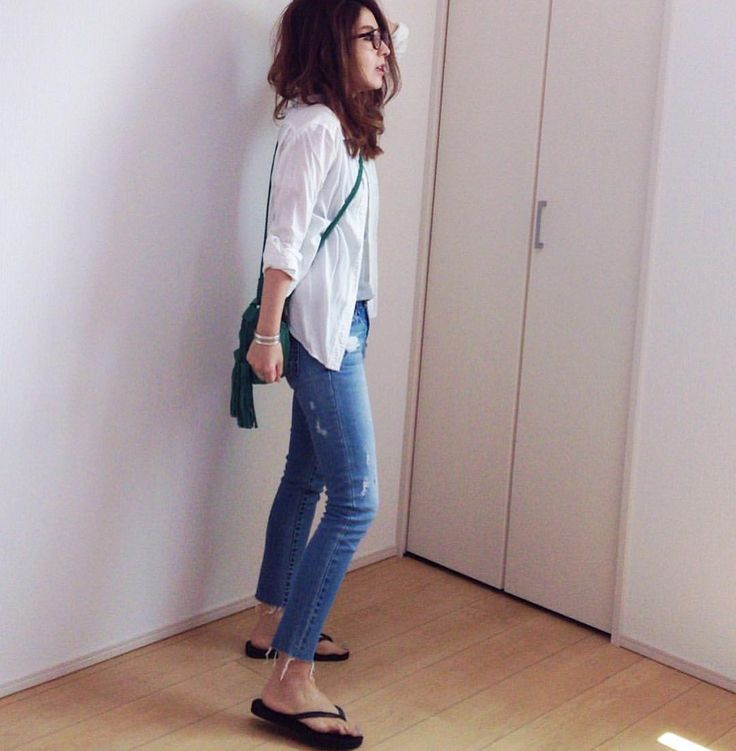 shirts #gu 昨年のリネン混のもの denim #moussy  bag #zara shoes #havaianas accessory #todayful