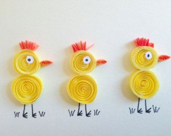 Quilled Yellow Chicks Card quilled art funny and by ElPetitTaller