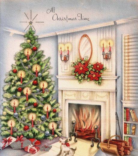 Vintage Christmas Card Pretty Tree Hearth Puppy Dog