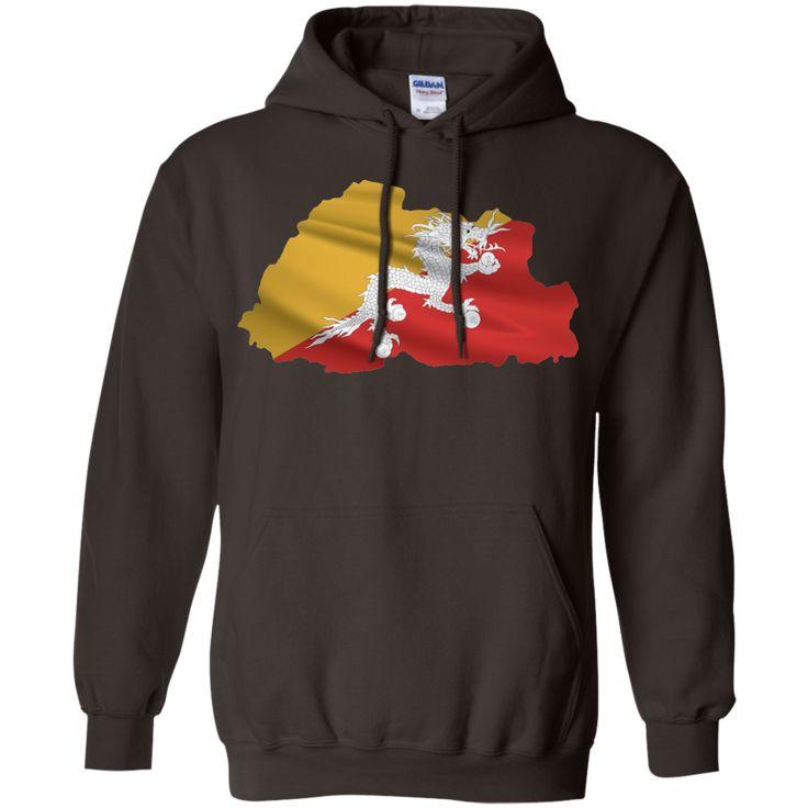 bhutan flag-01 Pullover Hoodie 8 oz