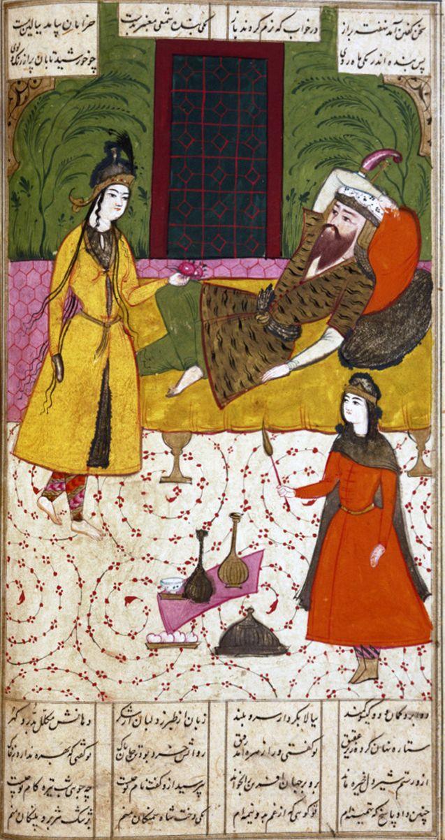 Head of male Seljuq royal figure, 12-13th c.       Birth of the Prophet Muhammad by Jami al-Tawarikh,1314        Birth of the Prophet ...
