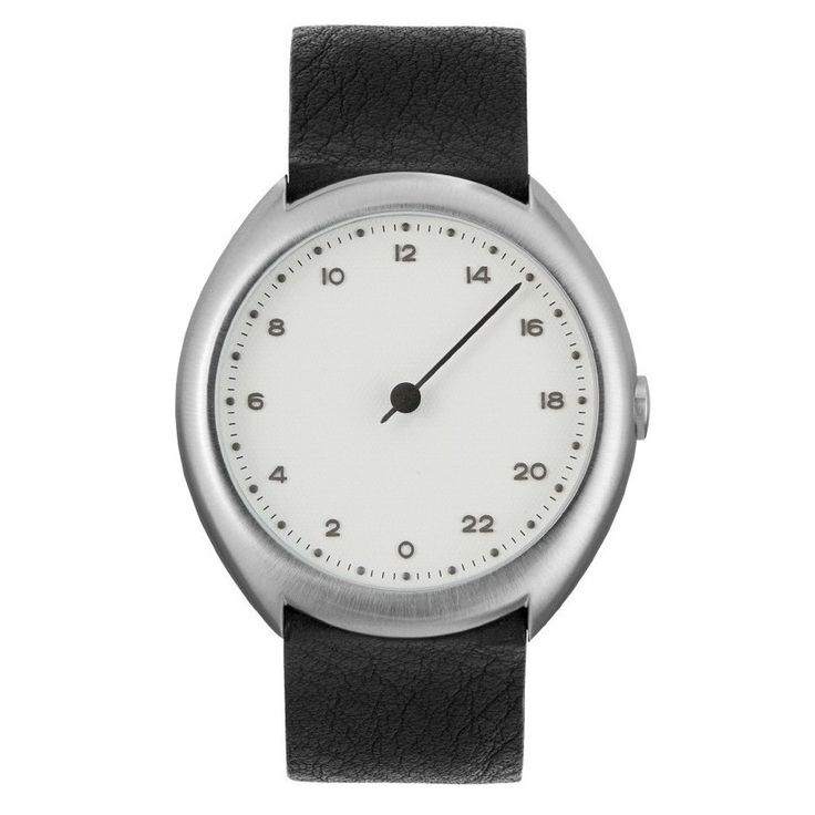 slow O 04 - Black Leather, Silver Case, White Dial