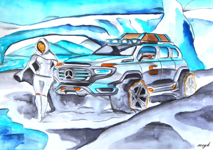 mercedes-benz g-force concept watercolor sketch