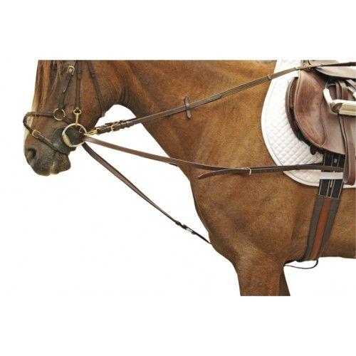 Deze driehoeks teugel (Weense teugel) is gemaakt van kwaliteitsleer. Deze hulpteugel is een bijzet teugel, waarbij het paard meer de mogelijkheid heeft om voorwaarts-neerwaarts te gaan, dan bij normale bijzetteugels. De teugel is verstelbaar.