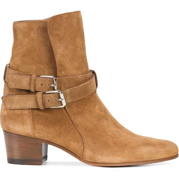 Amiri double strap ankle boots ($1,570) ❤ liked on Polyvore featuring shoes, boots, ankle booties, brown, leather ankle boots, short boots, leather ankle bootie, short leather boots and leather boots