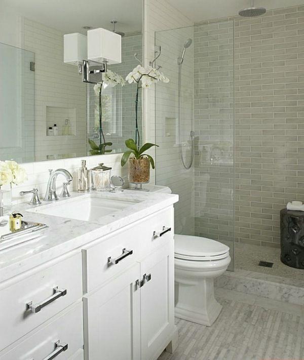 small bathroom design ideas white vanity walk in shower ...