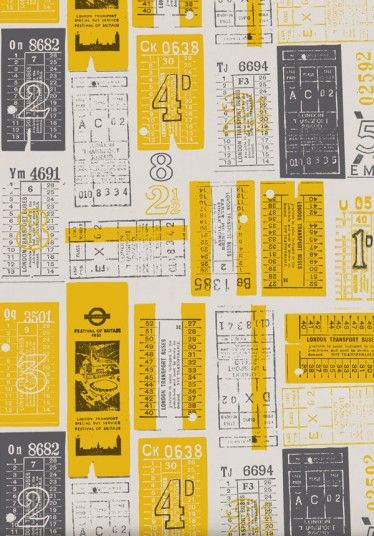 Produced in collaboration with the London Transport Museum, 'Hold Tight' was inspired by vintage bus tickets. £45 per10m roll, Mini Moderns....