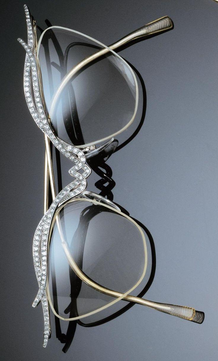 A PAIR OF RETRO PLATINUM, GOLD AND DIAMOND GLASSES, 1960S. #Retro #vintage #glasses