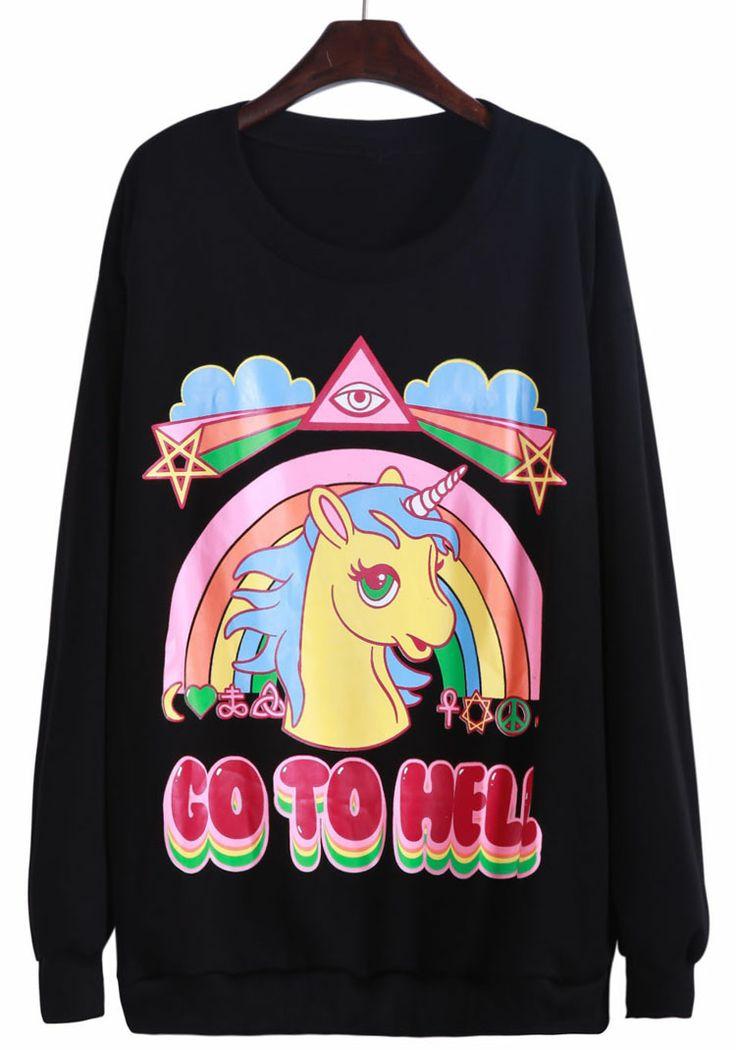 Black Long Sleeve Unicorn Rainbow Print Sweatshirt US$24.26