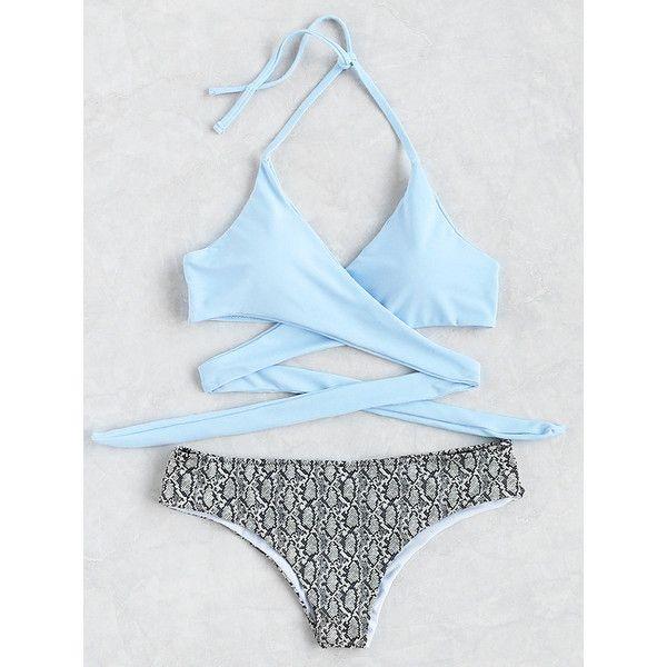 Snake Print Halter Wrap Knotted Back Bikini Set ($21) ❤ liked on Polyvore featuring swimwear, bikinis, blue, halter-neck tops, halter swimwear, blue swimwear, blue bikini and halterneck bikini top