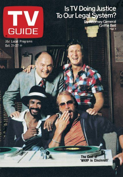 TV Guide October 21, 1978 - Gordon Jump, Gary Sandy, Tim Reid and Howard Hesseman of WKRP in Cincinnati.