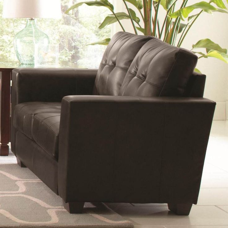 enright black bonded leather loveseat