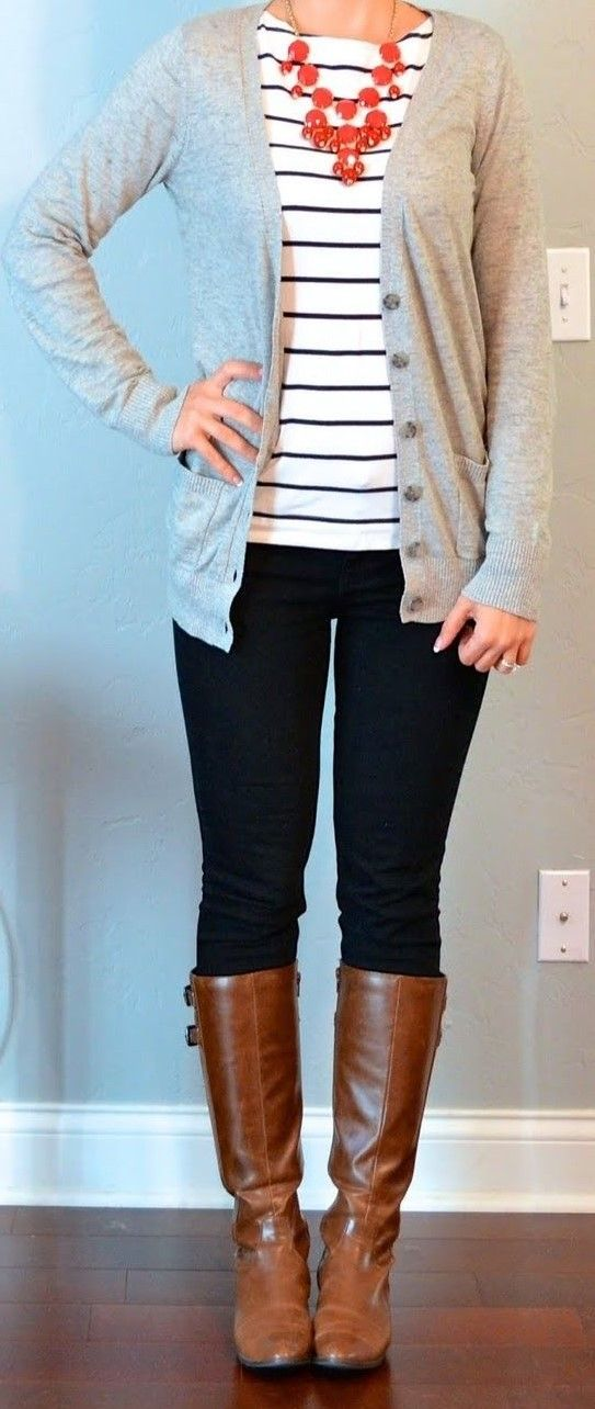Outfit Posts: Top: Grey boyfriend cardigan – Target Black and white striped  shirt – H&M Bottom: Black skinny jeans – Target Shoes: Brown riding boots  ...