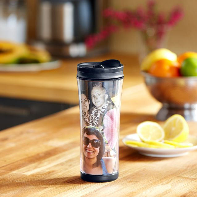 A customizable acrylic tumbler you can personalize with favorite photos and mementos.