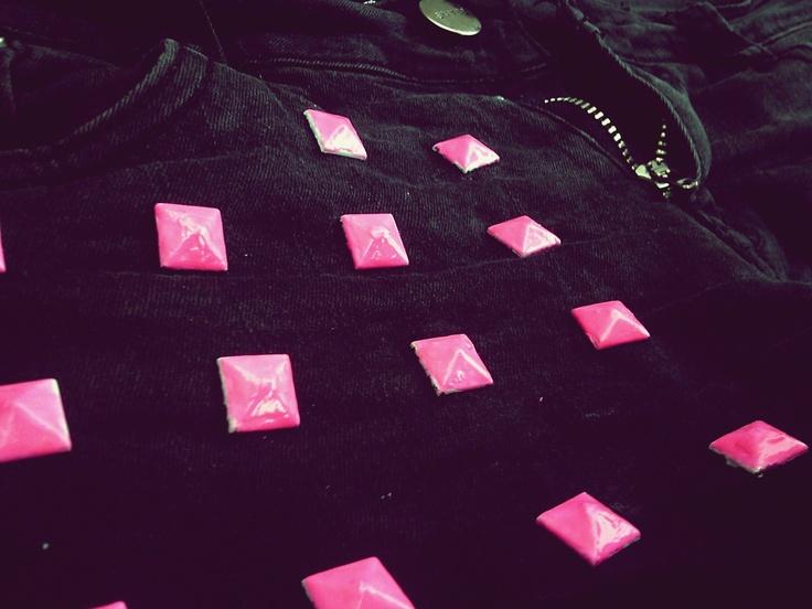 Studded shorts, DIY.Studded Shorts, Pink Studs, Studs Shorts, Neon Pink