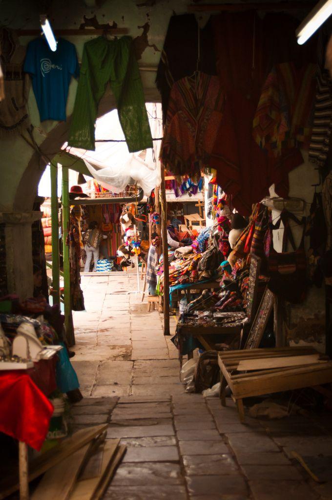 Markets from around the world. A peek around a corner into a market in Cuzco, Peru.