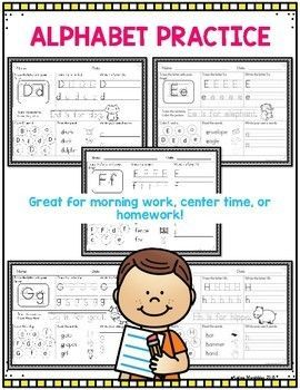 Alphabet Practice Sheets | Andrea Marchildon Resources TpT ...