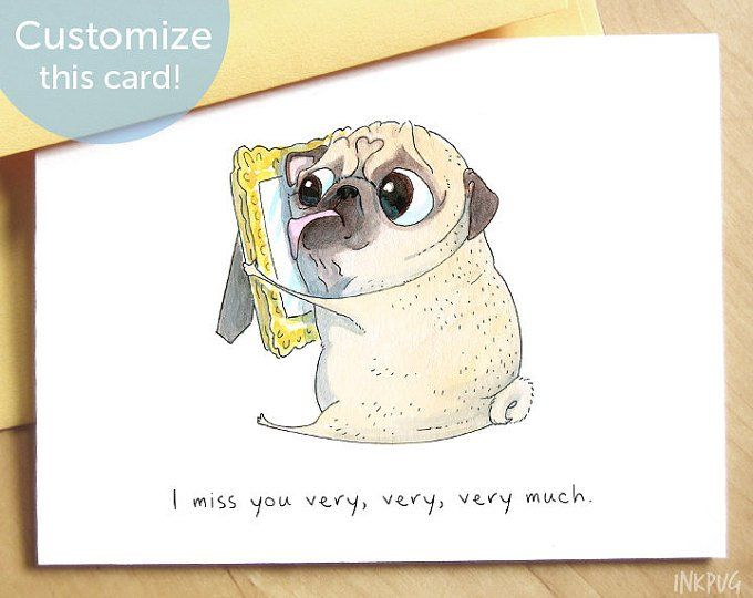 Miss You A Lot Cute Missing You Card Pug Dog Thinking Of You