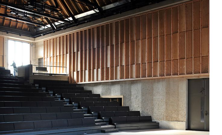 "Aldeburgh Music Creative Campus, Suffolk, UK, Haworth Tompkins // ""Jerwood Kiln Studio (converted from a derelict kiln building), can also accommodate 80 for public performances. Further practice rooms and support facilities are formed within derelict granaries."""