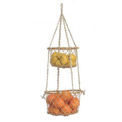 Fab Habitat Indoor Storage Basket -Prairie - 2 tier Hanging Macrame Basket, Beige, Off-White (Seagrass) Hanging Fruit Baskets, Metal Baskets, Baskets On Wall, Storage Baskets, Toy Storage, Storage Containers, Storage Organization, Organizing, Rattan Basket