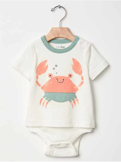 Gap, kids clothes, design, crab, simple, contemporary, sea, illustration