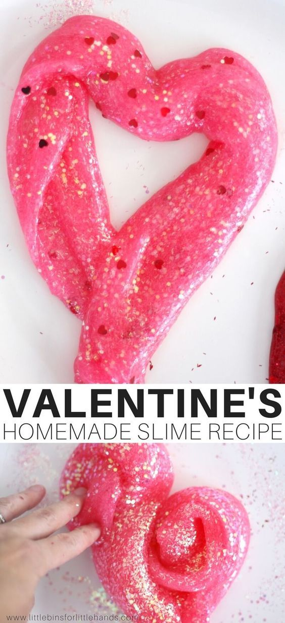 Learn how to make Valentines Day slime easily with homemade saline slime recipe with glitter!