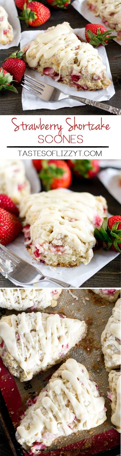 Soft, buttery strawberry shortcake scones recipe stuffed with fresh strawberries and topped with sugary streusel and vanilla glaze. Breakfast at its best!
