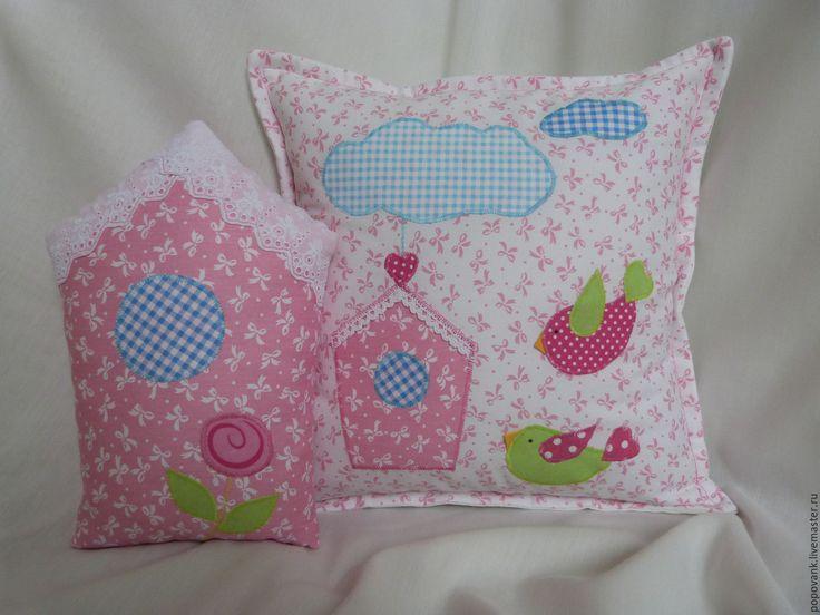 Купить Набор подушек для детской - комбинированный, подушка, декоративная подушка, подушка декоративная, домик подушка
