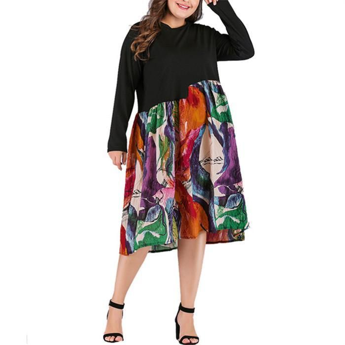 Plus-Size Long Sleeve Round Neck Printed Splicing Dress
