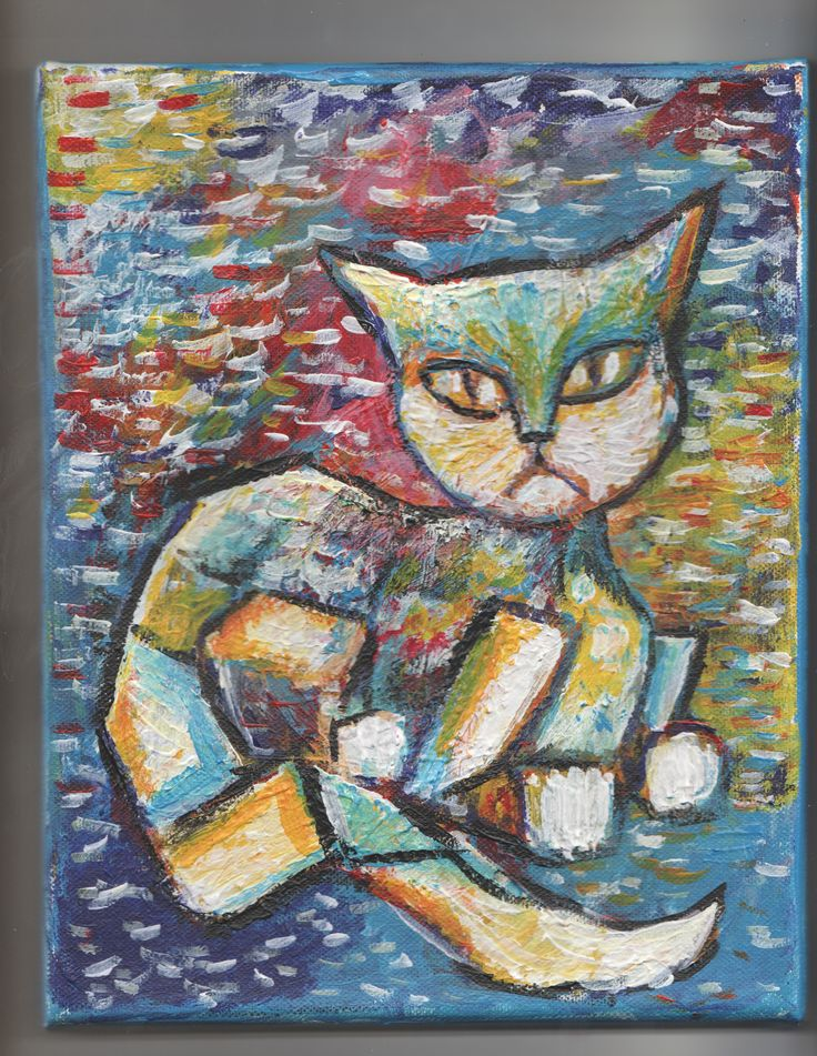 """8""""x10"""" Painting of a CAT, original art by jack larsonFREE SHIPPING!"""
