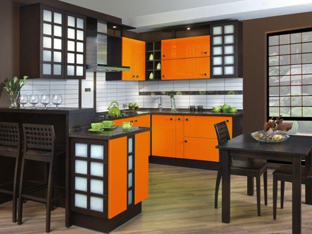 оранжевая кухня в японском стиле