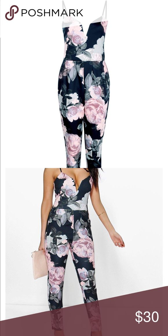 Floral jumpsuit So cute jumpsuit... Thick material so no need to put something over it... Navy/light pink Pants Jumpsuits & Rompers