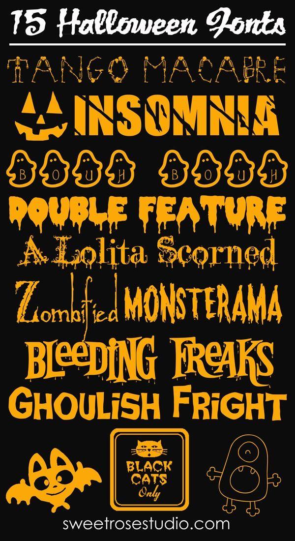 15 Free Halloween Fonts at Sweet Rose Studio! #fontaddict