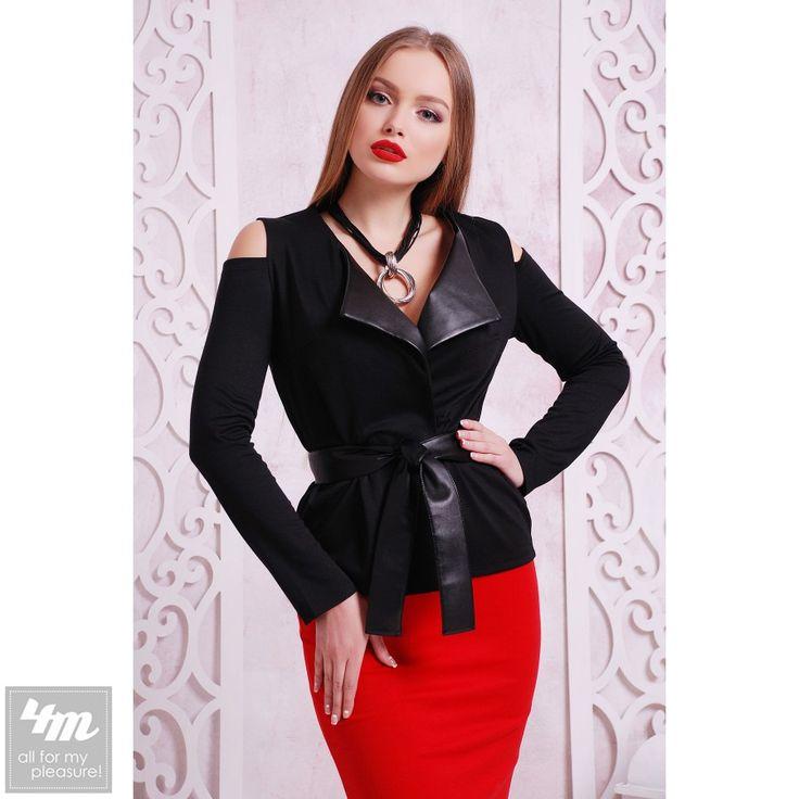 Пиджак Glem «Рикади» (Черный-черная отделка) http://lnk.al/48lA  Состав: французский трикотаж + экокожа (40% шерсть, 60% полиэстер)   #стиль #стильно #наряды #стильные #стильномодномолодежно #стильныйобраз #стильныештучки #стильное #стильномодно