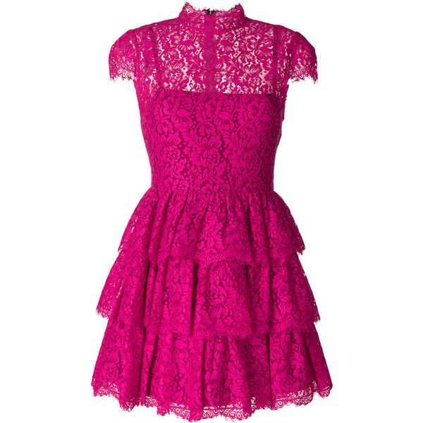 Alice+Olivia Peg Lace Dress (€685) ❤ liked on Polyvore featuring dresses, violet, fuchsia lace dress, fuchsia pink dress, frilly dresses, lace dress and flutter-sleeve dress